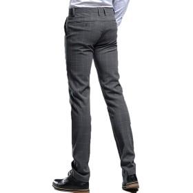 [CAIXINGYI] 春 秋 カジュアルパンツ 男性 イングランド 格子 ズボン 弾力性 スリムフィット パンツ ファッション メンズパンツ (30, グレー)