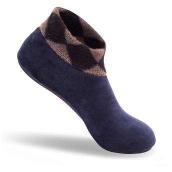 [MASATO] メンズ ルームシューズ 冬用 軽量 室内履き あったか スリッパ 滑り止め 静音 洗える ネイビー 25-28cm