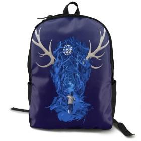 鹿の森 ほしぞら わぴち 走る 男 バックパック トラベルバッグ リュック Backpack 耐久性 多機能 収納力抜群 通勤 通学 登山 旅行 防災 災害 アウトドア シンプル オシャレ ビジネス ユニセックス ブラック 男女兼用