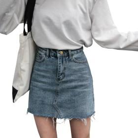 DuWei (ドゥウェイ) レディース デニムスカート ハイウエスト ホールスカート ファッション カジュアル ミニスカート Aライン 韓国 女学生 オシャレ (ブルー, XS)