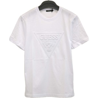 GUESS(ゲス) 半袖 Tシャツ 三角ロゴ エンボス クルーネック 男女兼用 MJ2K8504MI ブラック・ホワイト・ピンク (XL, ホワイト)