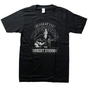 バンドTシャツ ロックTシャツ ヴィンテージ風 Robert Leroy Johmnsonロバートジョンソン 黒 黒色 ブラック Mサイズ
