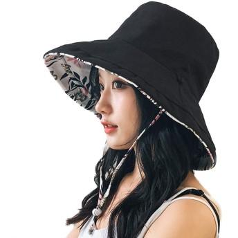Tionmax UVカット帽子 レディース 大きいサイズ 紫外線100%カット 綿麻 つば広 UVカット UV 帽子 両面ともかぶれる レディースハット 大きいサイズ 綿ポリブリムUVハット 日よけ 折りたたみ 取り外すあご紐 (ブラック, Free)