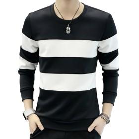 CHROME CRANE(クロム クレイン) メンズ 長袖 シンプル ボーダー プリント Tシャツ デザイン カットソー シャツ LPT009 (02.ブラック,XXL)