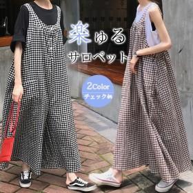 【韓国ファッション】サロペットパンツ/レディース/オールインワン/オーバーオール/ワイドパンツ