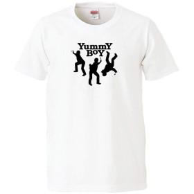 南堀江のおもしろtシャツ 「YUMMY BOY (TOMMY BOYじゃくなくて美味しいガキども)」 パロディ ギャグ ジョーク おもしろ半袖Tシャツ レディースLサイズ