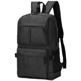 [Chaiclo] カジュアル リュック 通学 お出かけ に 収納型 USBポート付き バッグ ブラック