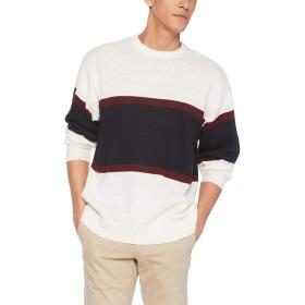 [ウィゴー] WEGO バー ライン クルー セーター ニット L ホワイト メンズ