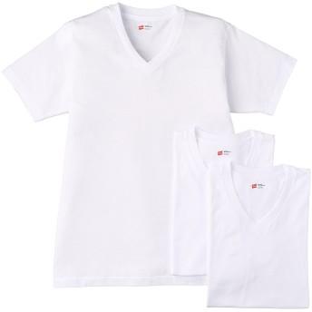 [ヘインズ] Tシャツ 3P 青パック Vネック 白 3枚組 型崩れしにくい 乾きやすい ドライな肌ざわり メンズ HM2125G ホワイト 日本 M (日本サイズM相当)