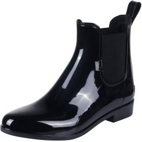 Smiry レディース&メンズレインブーツショートブーツ快適防水雨靴滑り止め軽量歩きやすいサイドゴアレインシューズ梅雨対策(23.0 Cmを、ブラック02)