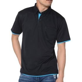 ティーシャツドットエスティー ポロシャツ ドライ 半袖 レイヤード ボタンダウン UVカット 4.4oz メンズ レディース ブラック×ターコイズ LL