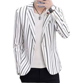 Bestmoodテーラードジャケット メンズ スリム 韓国 スーツ ストライプ柄 ファッション ジャケット フォーマル おしゃれ アウター ビジネス 通勤 春(W白)