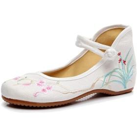 [BOZEVON] レディースファッション刺繍入り靴 - ちょう結フラットサンダル刺繍シングルシューズ, スタイル3, 24.5cm