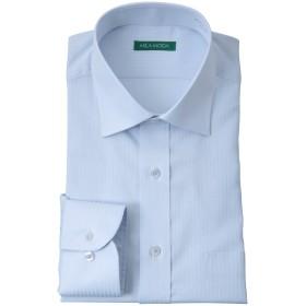 【袖丈・首周りが選べる36サイズの品揃え】 洗える 形態安定加工 長袖 セミワイドカラー ワイシャツ ブルー・シャドーストライプ LL(43)-78