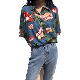 (リスキス) riskiss レディース アロハシャツ プリント ブラウス 半袖 ゆったり ハワイ レトロ 薄手 リゾート フリーサイズ (ブルー, フリー)
