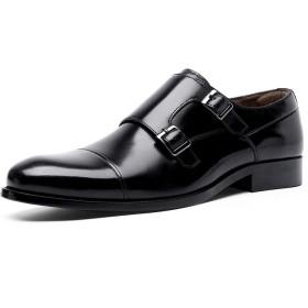 YIMANIE ビジネスシューズ紳士靴革靴メンズ本革モンクストラップストレートチップ高級靴履きやすい