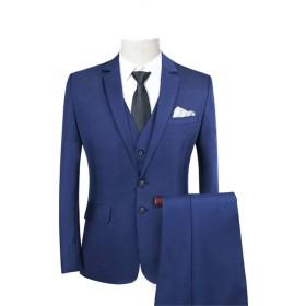 Angelo スーツ メンズスーツ 2ツボタンスーツ 縦縞 ビジネス メンズ 三点セット ビジネススーツ 細身 結婚式 きれいめ スリム オールシーズン 礼服 シルエット 就職活動 冠婚葬祭 S-XXXXXL 大きいサイズ レッド ブルー (XL, ネイビー)