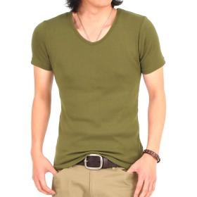 (エムシー) MC メンズTシャツ 半袖 無地 7分袖 七分袖 Vネック インナー ティーシャツ カットソー L 5-カーキ-半袖