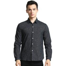 Goodid ワイシャツ ストライプ Yシャツ おしゃれ シンプル カジュアル 長袖 メンズ(L,ブラック)