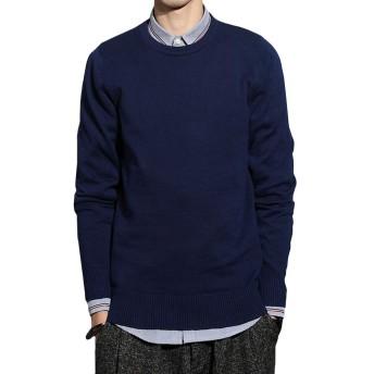メンズ ニット セーター 長袖 ラウンドネック 綿 ビジネス カジュアル トップス 肌触りよい 5色