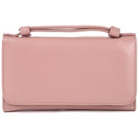お財布 ポシェット 本革 レディース 長財布 2way 財布 ショルダー ショルダーウォレット レザー (ピンク)