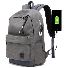 (よキーよ)Yokeeyo リュックサック キャンバス USB充電可能 多機能のポケット 小物整理 大容量 防水 通学 男子 高校生 学生 男女兼用 シンプル カジュアル ユニセックス