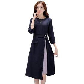 (TERA Dream) ワンピース プリーツ スリット フォーマル ドレス 紺 長袖 ひざ丈 きれいめ エレガント ハイウエスト レディース (XL) (紺いろ XL)