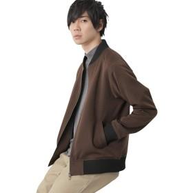 (モノマート) MONO-MART スーツ地 MA-1 ジャケット 厚手 ストレッチ TR メンズ ma-1 メンズ ブラウン Lサイズ