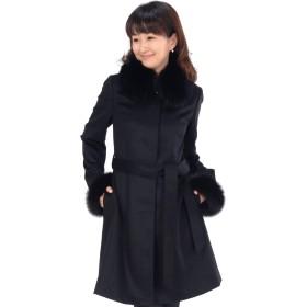 [MONCADA]モンカーダ カシミヤ 100% コート フォックス 比翼 衿付き SAGAフォックス!! CA2350 Sブラック
