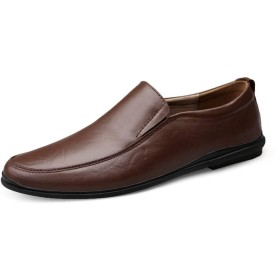 [Jusheng-shoes] メンズシューズ 男性用ボート用モカシンスリップオンOXレザーロートップ軽量フレキシブルシューズ カジュアルシューズ (Color : 褐色, サイズ : 23.5 CM)