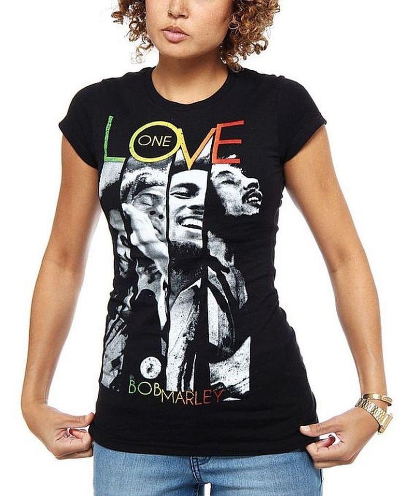 Bob Marley One Love Rasta Tam V-Neck Women/'s Gray Cotton T-Shirt Juniors Sizing