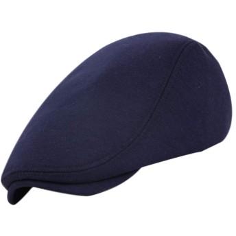 Echana ベレー帽 キャップ アウトドア 通勤 無地 ハンチング フラット コットンハット 通気性 男女兼可 春 秋 (紺色)