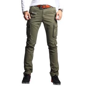 メンズファッションミリタリーカーゴパンツスリムレギュラーストレートフィットコットンマルチカラーアーミーオーバーオールパンツ (緑, 36)