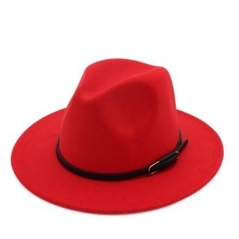 SCILLO(エスシーアイエルエルオ) ハット メンズ レディース 中折れハット 中折れ帽 大きいサイズ 紳士帽子 おしゃれ 大人 ウールハット かっこいい ストライプハット 人気 秋 冬 帽子 ファッション (レッド)