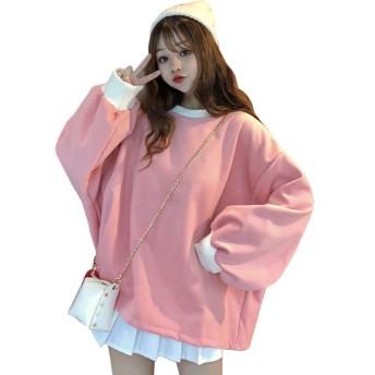 WENHAI森ガール パーカー レディース 春秋冬 tシャツ 長袖 トップス コート 可愛い 無地 スウェットパーカー ゆったり かわいい シンプル 原宿系 ファッション 韓国 個性 プルオーバー 上着