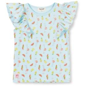 (ラッドチャップ) RADCHAP トロピカル柄フリル 半袖Tシャツ 100cm サックス
