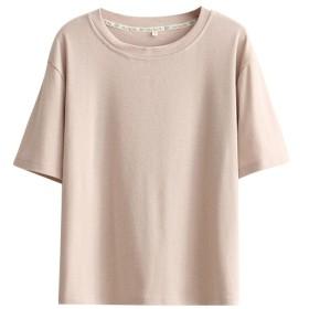 OQC レデイース Tシャツ コットン ゆったり 夏 トップス ラウンドネック 無地 シンプル 半袖 インナー カジュアル 夏の上着 (ピンク#1, L)