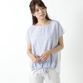 シャツ ブラウス レディース 裾ギャザーストライププルオーバー 「オフホワイト」