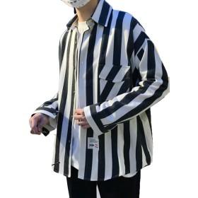 Alhyla メンズ ワイシャツ Vネックトップス メンズ 綿 シャツ 大きいサイズ おしゃれ ゆったり メンズ スウェットパーカー 体型カバー コート ストライプ シャツブラックbs2