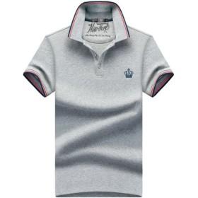 (habille)メンズ ポロシャツ 半袖 王冠 刺繍 マリン 夏 休日 カジュアル ゴルフ 大きいサイズ ボタン 鹿の子 白 おまけ付(L/グレー)