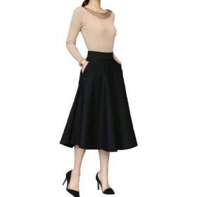 (プライム セント) ポケット付 ロング スカート ひざ下 ふんわり フレア Aライン ゆったり ウエスト ゴム レディース OL (ブラック M)
