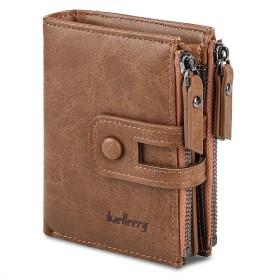 大容量メンズ財布レザー二つ折り財布隠しバッグカードダブルジップコインケース(カーキ)