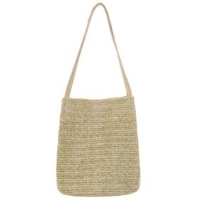 REHOODN レディース かごバッグ ストローバッグ 藁編み 肩掛け 手提げ 海水浴 浴衣向け旅行用 カジュアル 軽量A