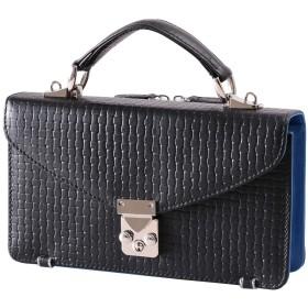 [ディアブロ] DIABLO セカンドバッグ メンズ 本革 レザー ブロックメッシュ 型押し 2in1 財布一体型バッグ 【KA-1183】 (ブラック×ブルー)