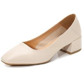 [MerryCo] プレーンパンプス フォーマルシューズ チャンキーヒール レディース 女性 大人 かかとが踏める コンフォート 疲れにくい 脱げない スクエアトゥ カジュアル ビジネス 婦人靴 ぺたんこ オフィス用