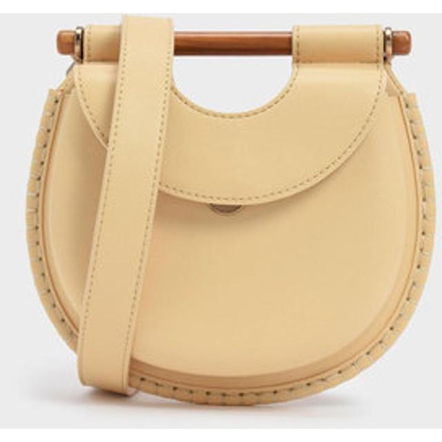 ウッドエフェクトハンドルホイップステッチ トリムバッグ / Wood-Effect Handle Whipstitch Trim Bag (