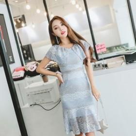 ワンピース 半袖 膝丈 ひざ丈 花柄 レース パーティー 二次会 お呼ばれ 結婚式 ブルー 大きいサイズ 韓国