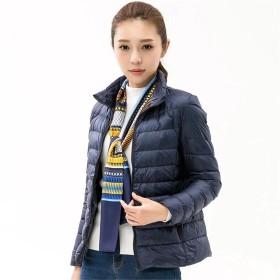 EASONDDD 全15色 レディース ダウンジャケット 軽量 ウルトラダウン コート ジャケット ライトコート カジュアル ショート丈 アウター アウトドア 冬 防寒 防風 暖かい 大きいサイズ 便利な収納袋付き