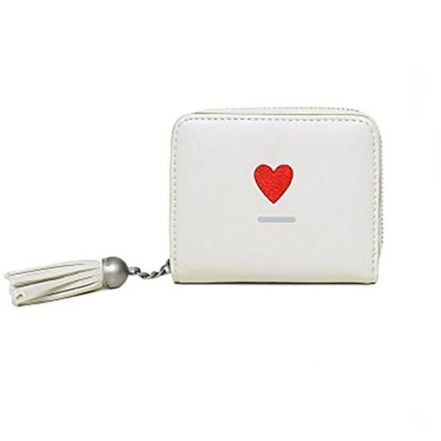 長之瑞(Choreal)ミニ財布 二つ折り 可愛い財布 レディース 花柄 小銭入れ カード収納 コインケース カードケース 多機能 シンプル 上品6色選択可 (ホワイト)
