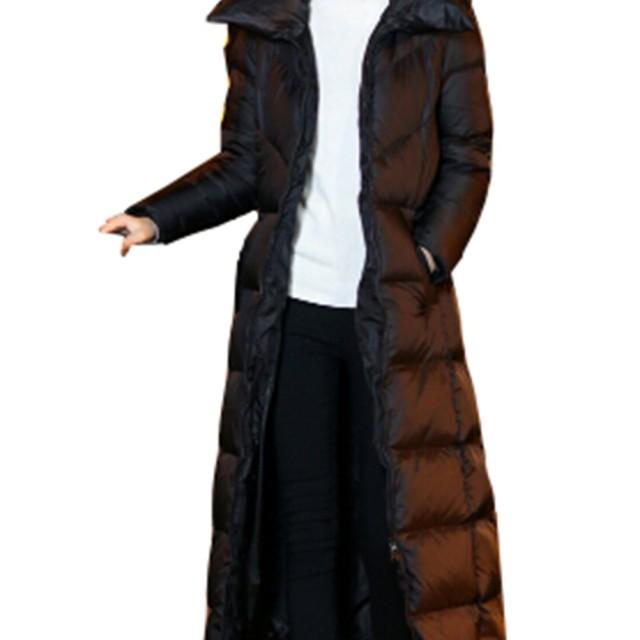 ダウンコート ロング レディース ダウンジャケット Aライン 中綿ダウンコート フード付き 撥水 着痩せ 軽量 ベンチコート 着痩せ 細身 棉服コート 防寒ジャケット 厚手 シンプル かわいい ダウンジャケット大きいサイズ (フードなし, XXL)